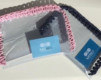 Beauty case, Handmade, Crochet case, Made in Greece, Transparent case, Beauty bag case, Bag case, Pvc case