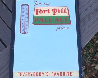 Rare Fort Pitt Pale Ale Beer Advertisement Mirror and Thermometer Vintage Pittsburgh Brewery