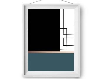 Teal Color Block Art, Geometric Poster, Faux Copper & Teal Print, Scandinavian Print, Contemporary Art, Modern Art, A3, 20x24, Print Avenue