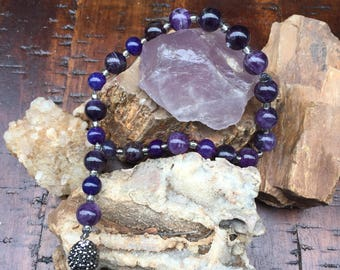 Amethyst and Pyrite Prayer, Meditation, or Birthing Beads