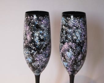 Galaxy Champagne Toasting Galaxy Glasses Stars Toasting Flutes Hand Painted Glass Stars Wedding Handmade Gift Idea