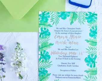 Tropical Wedding Invitation | Tropical Vibes Wedding Invite | Wedding Invitation