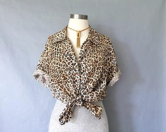 vintage silk blouse/ leopard blouse/ silk shirt/ short sleeve blouse/ button down blouse women's size S/M/L