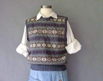 vintage wool vest sweater sleeveless top size S/M