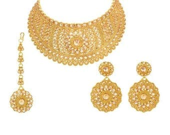 Antique Gold-Plated Bridal Jewelry Mukut Set With Round Earrings and Tikka - Full Bridal Set for Indian Brides, Indian Wedding Jewelry