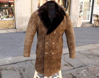 Coat Leather Sheepskin Original vintage years 70 TG XL