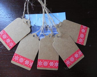5 labels kraft 7 x 4 cm with masking tape snowflakes kraft
