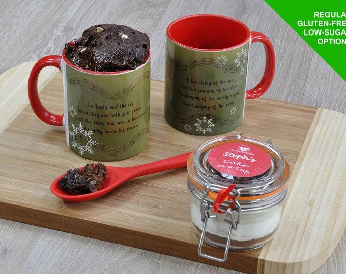 The holly and the ivy, Christmas carol mug cake range, Holly, Ivy, Christmas carol gift, cake in a cup for Christmas, personalised cake