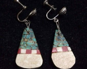Antique Santo Domingo Silver and Turquoise Earrings Clip On Native AmericanST577