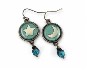 Moon and Star mismatched Earrings