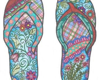 Flip Flop Coloring Page!