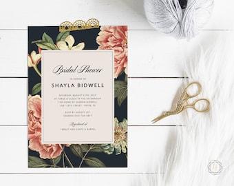Bridal Shower Invitation, Navy Blue Bridal Shower Invitation, Floral Bridal Shower Invitation, Bridal Brunch, Calligraphy Invitation, #VCS
