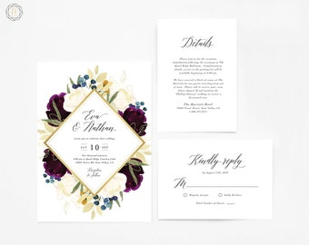 Wedding Invitation, Watercolor Wedding Invitation, Printable Wedding Invitation, Plum Wedding Invitation, Wedding Invitation Suite, #PNG