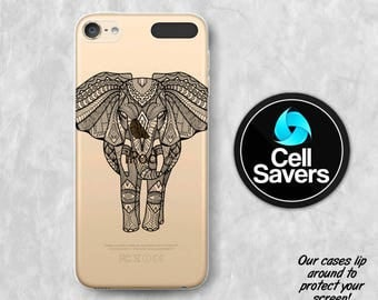 Elephant Henna Clear iPod 5 Case iPod 6 Case iPod 5th Generation iPod 6th Generation Rubber Case Gen Clear Case Black Elephant Line Art Cute