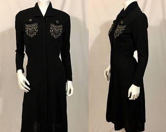 20% Off Summer Sale Vintage 1930s Black Dress, Black Wool Dress, Beaded,