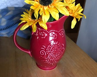 Vera Bradley vibrant red water pitcher