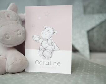 Faire-part naissance Noukie's collection Poudre d'étoiles rose