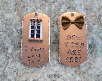 Doctor Who inspired hand stamped tags