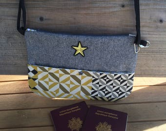 Grey and yellow quilted shoulder bag