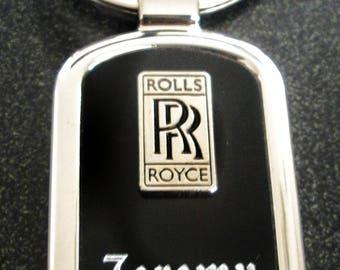 Rolls Royce Black Onyx & Silver Key chain-Free Engraving