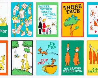 """Dr Seuss Hop on Pop 24"""" Book Panel from Robert Kaufman quilting cotton fabric"""
