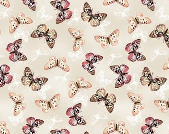 Tivoli Garden Ivory Butterflies by Anne Rowan for Wilmington Prints, quilting cotton, fabric, yardage, by the metre, by the yard, 68406-138