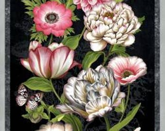 Tivoli Garden 24' Panel by Anne Rowan for Wilmington Prints, quilting cotton, fabric, pink flowers, black, 68400-937