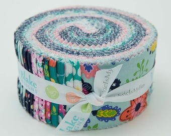 "Riley Blake Enchanted Rolie Polie (jelly roll) by Dodi Poulsen (40 2.5"" strips) RP-5680-40 floral purple cotton precut quilting fabric"