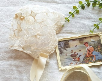Lace bonnet Photography prop, flowers, rose lace baby photo prop baby shower cream lace Christening baptism bonnet size 12-18mths RTS