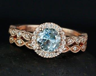 Blue Aquamarine Engagement Ring - Leaf Milgrain Wedding Band - Blue Bridal Set
