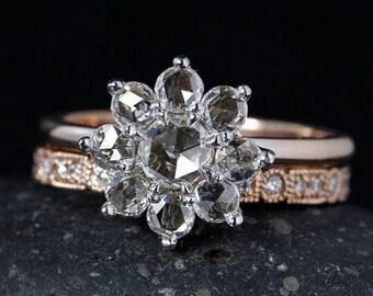 ON SALE Rose Gold Flower Diamond Engagement Ring - Art Deco Inspired Wedding Band - Bridal Set