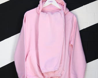baby pink tracksuit hooded matching streetwear hip hop style 90s small
