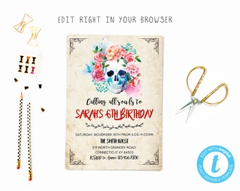 Skull party tem, TRY BEFORE you BUY, instant download, edit yourself invitation,Template Editable