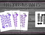 Ribbon Banner, Purple Tones Printable Planner Stickers | Eggplant, Grape, Unicorn | Decorative | Header Date Cover | watercolor