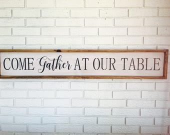 Come Gather At Our Table, Framed Art, Family Gathering, Gather Wall Decor,