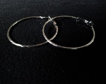 Large 80's Silver Hoop Earrings - FREE POSTAGE