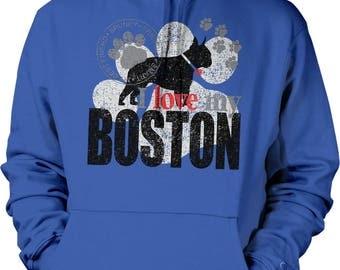I Love My Boston, Boston Terrier Hooded Sweatshirt, NOFO_01207