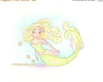 ON SALE Mermaid wall art -  mermaid decor, painting, art print