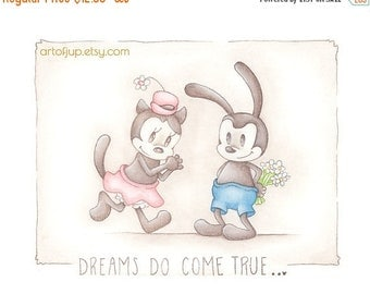 ON SALE Oswald the lucky rabbit, Disney, print