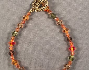 Fall colored Swarovski crystal bracelet 040