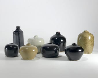 Lot of 8 Larry Laslo for Mikasa stoneware bud vases | weed pots- Japan