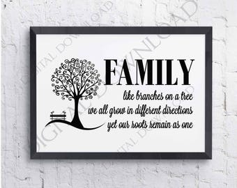Family Tree Quote SVG Saying Download - Vinyl Design, Home Decor, Printable Signs, jpg png svg pdf, Typography Art Print File, SVG Clipart