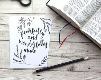 Fearfully and Wonderfully Made Christian Postcard - Christian Notecard - Christian Gifts - Faith Gifts - Eco friendly
