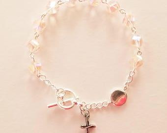 Soft Pink AB Crystal Rosary Bracelet