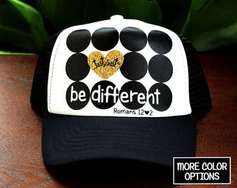 Be Different Trucker Hat / cross, dots, heart, Christian hat, Christian apparel, women's hat, women's trucker hat, Christian trucker hat