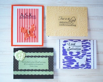 The SCRIPTURE PACK - 4 Religious - Handmade/Homemade Greeting Cards