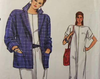 Vintage 80's Uncut Boxy Jacket and Dress Pattern Sz 8-12, 8914