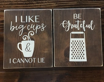 SIX LARGE Funny Kitchen Wood Signs|| Rustic Kitchen Wood Signs|| Hand painted Wood Sign||