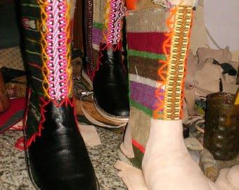 Handmade tall ethnic tan colour designer boots