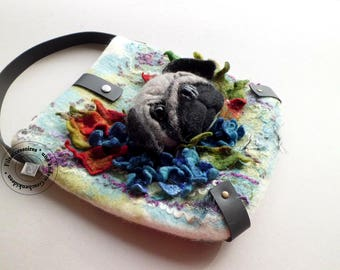 Felted bag with felted pug pet-gift giftidea birthday easter for girlfriend women wife sister unique OOAK eye-catcher animals shopper
